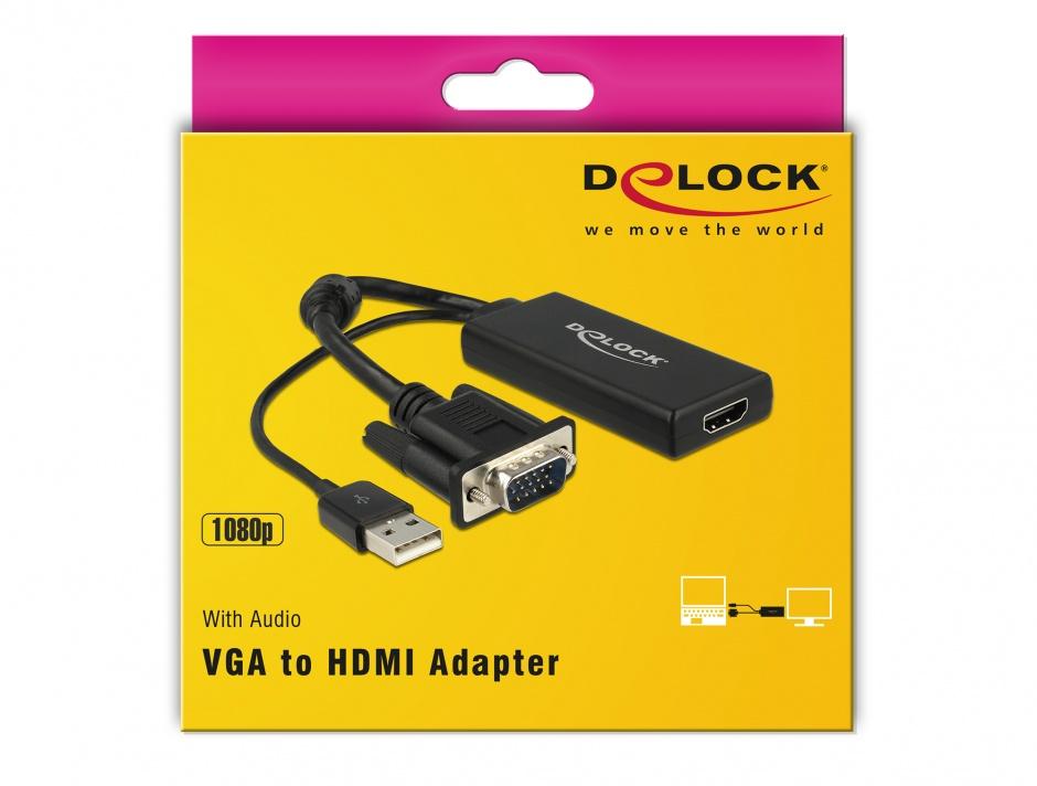 Imagine Convertor VGA la HDMI cu Audio Negru, Delock 62668