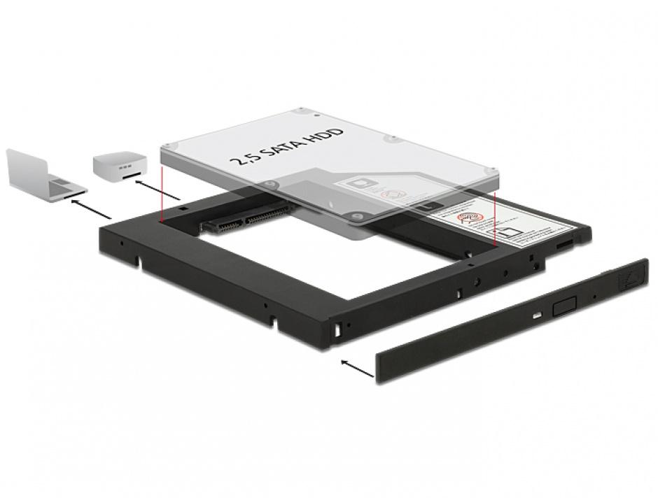 "Imagine Installation Frame (Caddy) 10mm Slim SATA 5.25 pentru 2.5"" SATA HDD 9.5mm, Delock 62669"