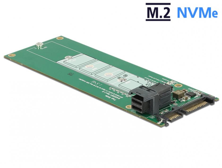 Imagine Convertor SATA 22 pini / SFF-8643 NVMe la 1 x M.2 NGFF Key M, Delock 62703