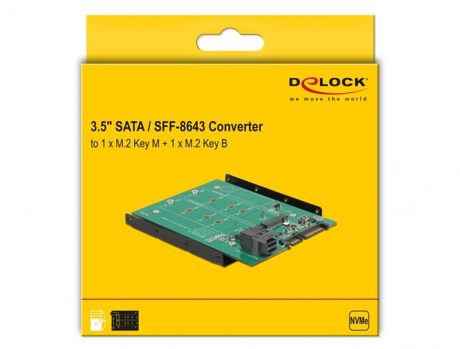"Imagine Adaptor SATA 22 pini / SFF-8643 NVMe la 1 x M.2 NGFF Key M + 1 x M.2 NGFF Key B + kit 3.5"", Delock 6"