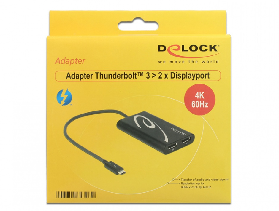 Imagine Adaptor Thunderbolt 3 (USB-C) la 2 x Displayport T-M 4K 60Hz, Delock 62708