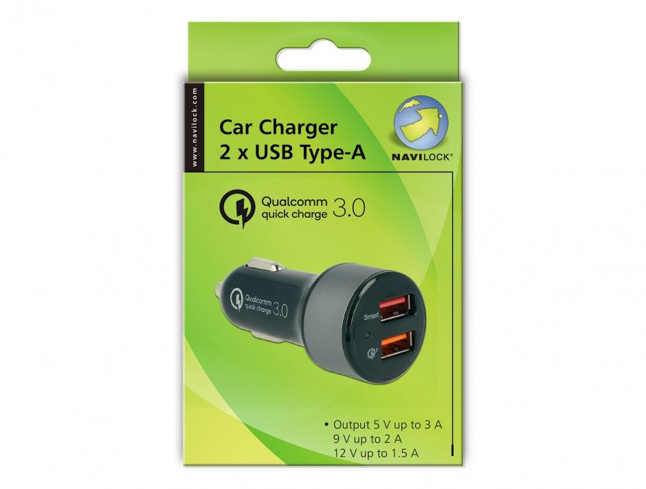 Imagine Incarcator auto cu 2 x USB Qualcomm® Quick/Fast Charge 3.0 (incarcare rapida), Navilock 62739