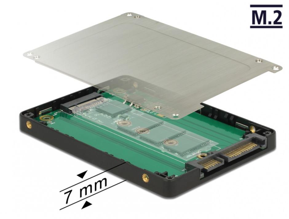 "Imagine Adaptor 2.5"" SATA 22 pini la M.2 cu rack extern, Delock 62792"