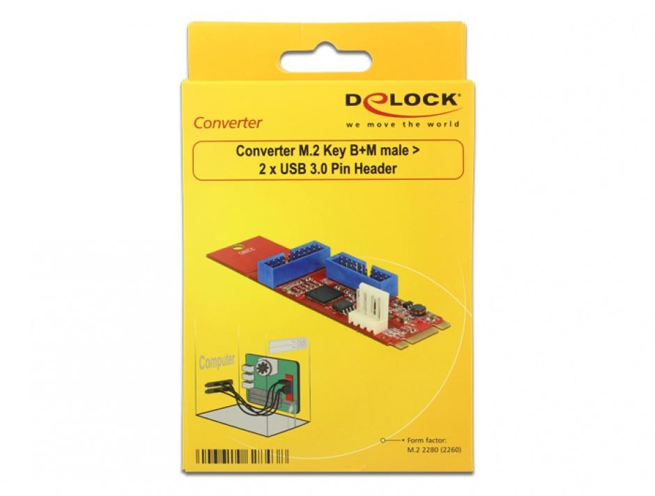 Imagine Adaptor M.2 Key B+M la 2 x USB 3.0 Pin Header, Delock 62843