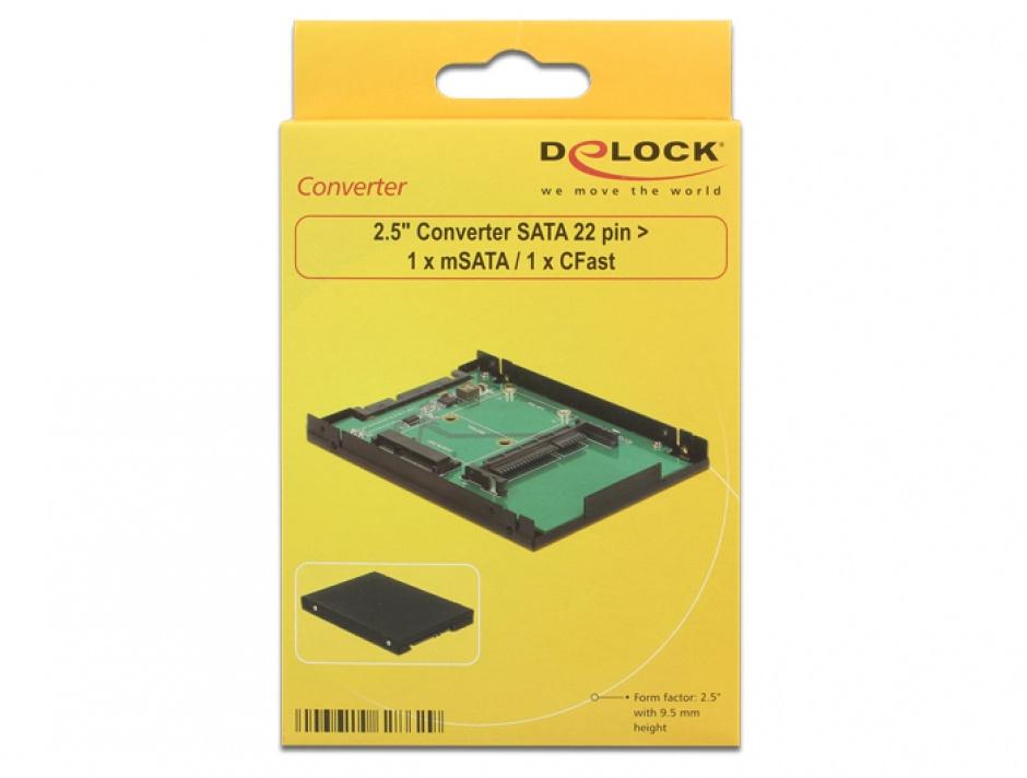 """Imagine Convertor 2.5"""" SATA 22 pini la 1 x mSATA / 1 x CFast 9.5mm, Delock 62862"""