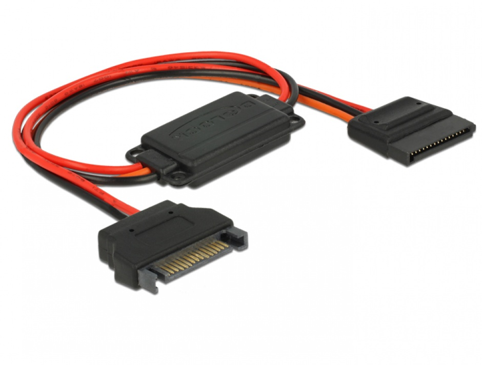 Imagine Cablu de alimentare conversie voltaj SATA 15 pini 5V la SATA 15 pini 3.3V + 5V T-M, Delock 62874