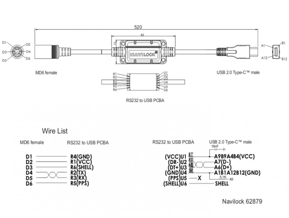 Imagine Cablu MD6 socket serial la USB tip C 2.0 52cm, Navilock 62879