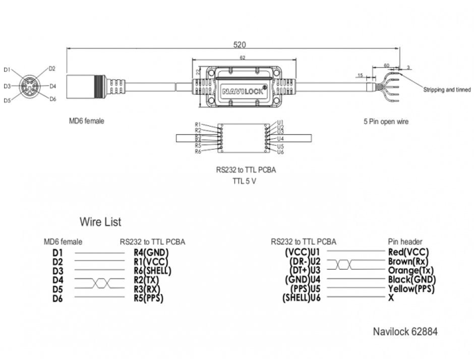Imagine Cablu MD6 socket serial la 5 fire deschise TTL (5 V) 52cm, Navilock 62884