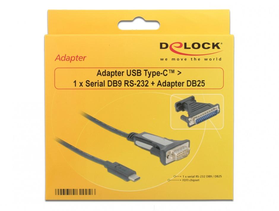 Imagine Adaptor USB-C la Serial RS232 DB9 + adaptor DB25 FTDI, Delock 62904