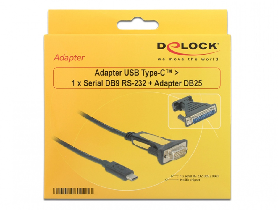 Imagine Adaptor USB-C la Serial RS232 DB9 + adaptor DB25, Delock 62905