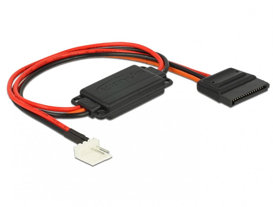 Imagine Cablu de alimentare conversie voltaj Floppy 4 pini 5V la SATA 15 pini 3.3V + 5V T-M, Delock 62906