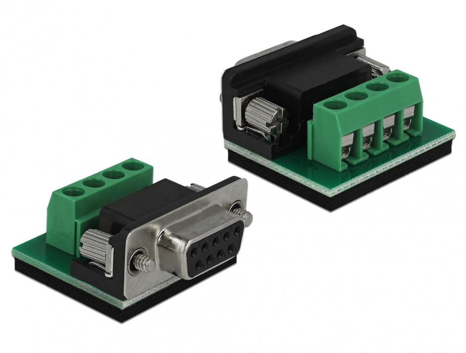 Imagine Convertor 1 x Serial RS-232 DB9 la 1 x Serial RS-485 cu protectie EDS 600 W si temperatura extinsa,