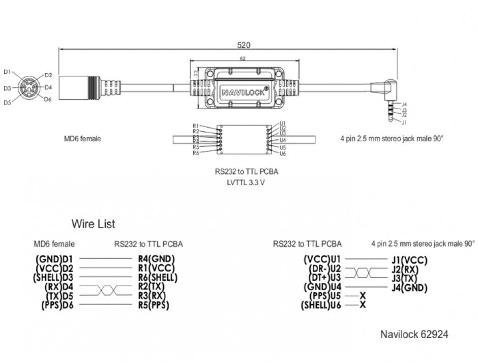 Imagine Cablu MD6 socket serial la jack 2.5 mm 4 pini 90° LVTTL (3.3 V) 52cm, Navilock 62924