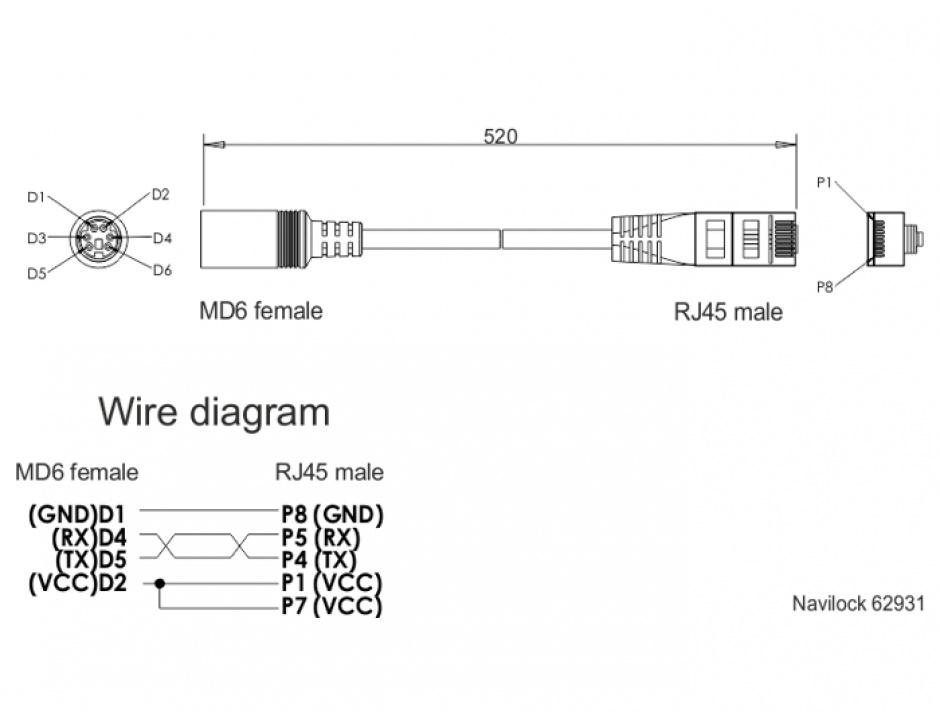 Imagine Cablu MD6 serial la RJ45 M-T 52cm, Navilock 62931