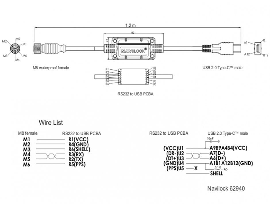 Imagine Cablu M8 waterproof la USB-C 2.0 M-T, Navilock 62940