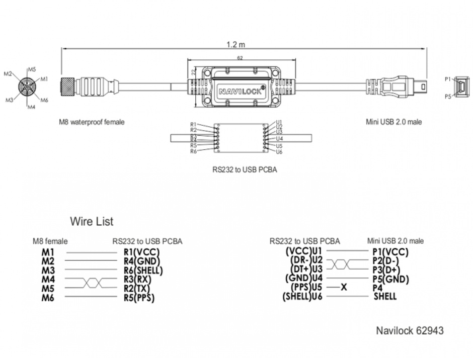 Imagine Cablu M8 waterproof la mini USB-B 2.0 M-T, Navilock 62943