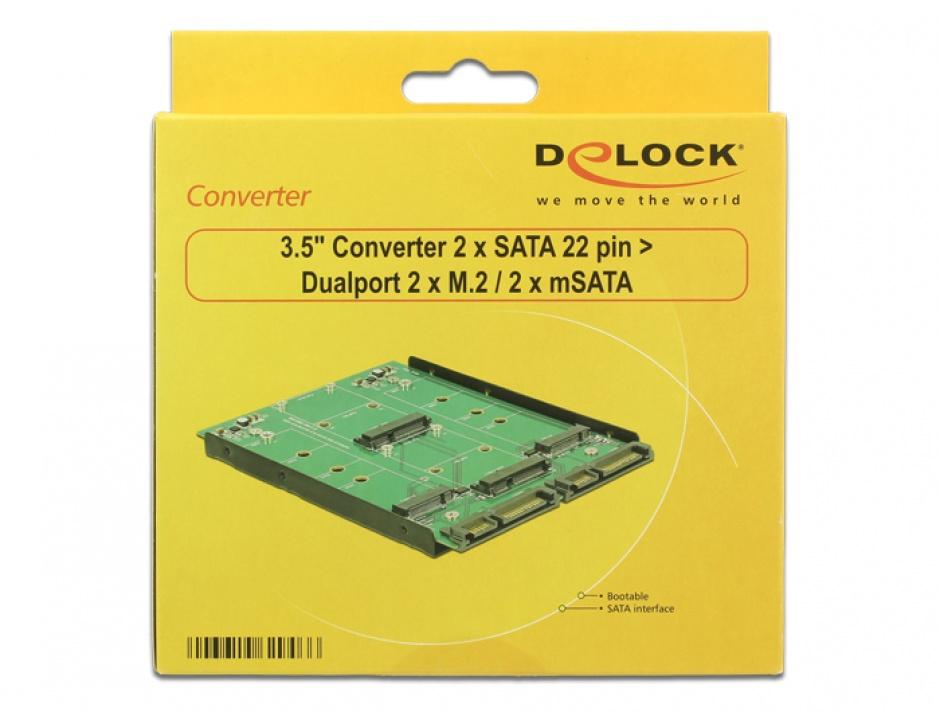 """Imagine Convertor 3.5"""" 2 x SATA 22 pini la Dualport 2 x M.2 / 2 x mSATA, Delock 62946"""
