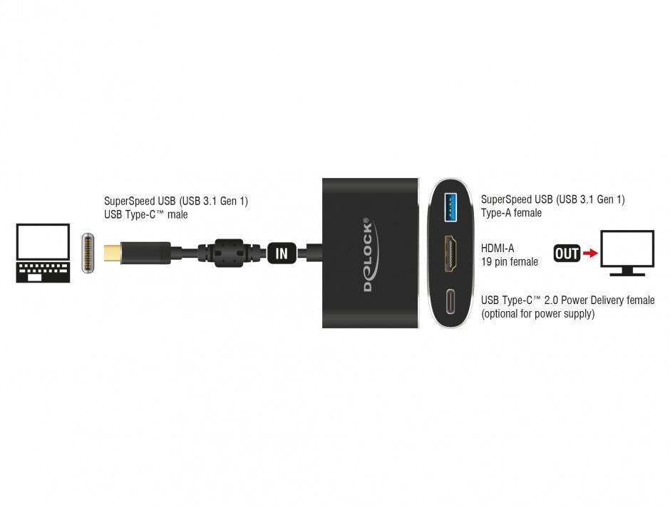 Imagine Adaptor USB tip C la HDMI (DP Alt Mode) 4K 30 Hz + USB-A + PD (power delivery), Delock 62991