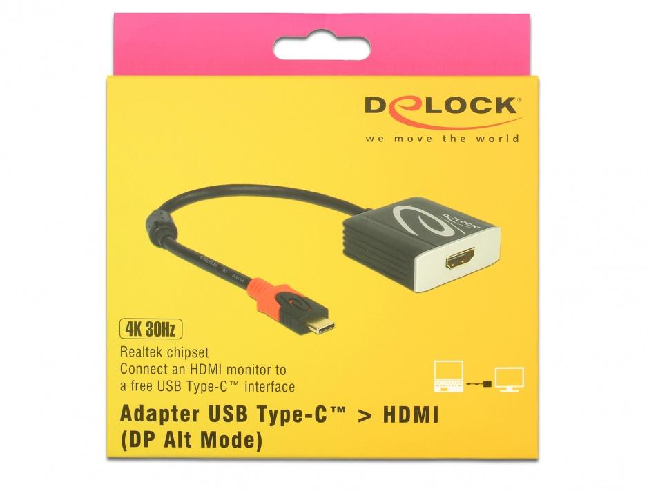 Imagine Adaptor USB tip C la HDMI T-M 4K 30 Hz (DP Alt Mode), Delock 62999