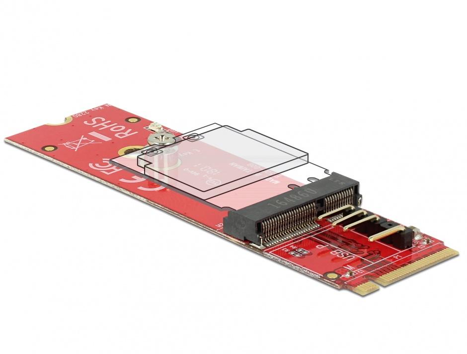 Imagine Adaptor M.2 Key M la M.2 Key E pentru module USB/PCIe, Delock 63343