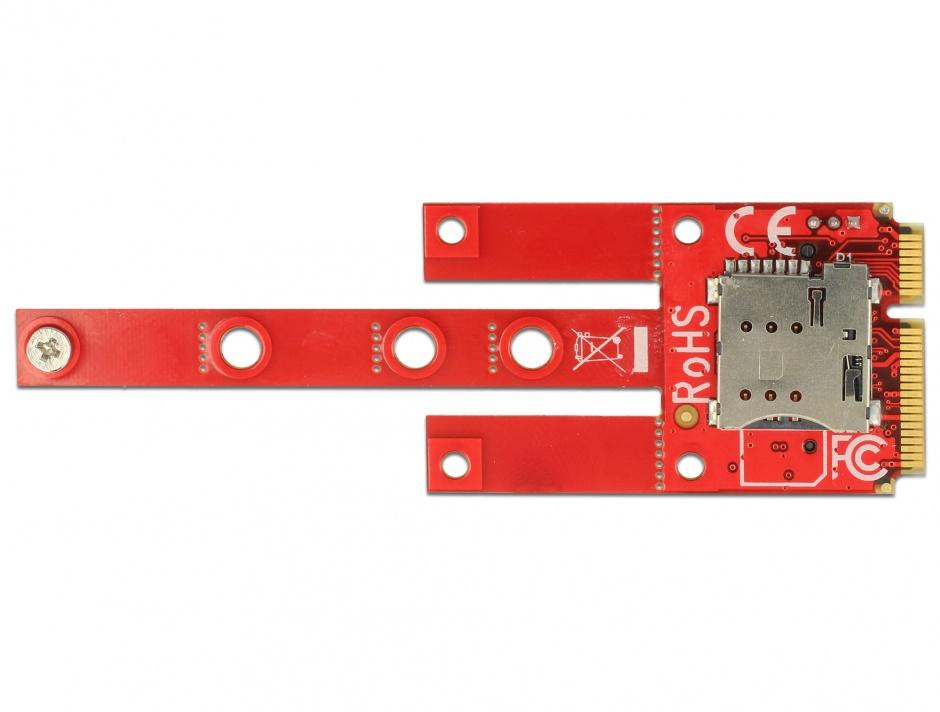 Imagine Convertor Mini PCIe la M.2 Key B slot + Micro SIM slot, Delock 63384