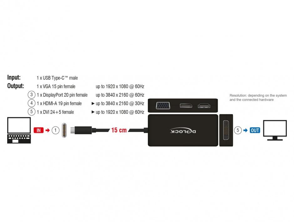 Imagine Adaptor USB-C la VGA / HDMI / DVI / DisplayPort T-M Negru, Delock 63929
