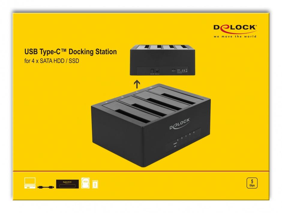 """Imagine Docking Station USB 3.1-C pentru 4 x HDD/SSD SATA 2.5""""+3.5"""", Delock 63930"""