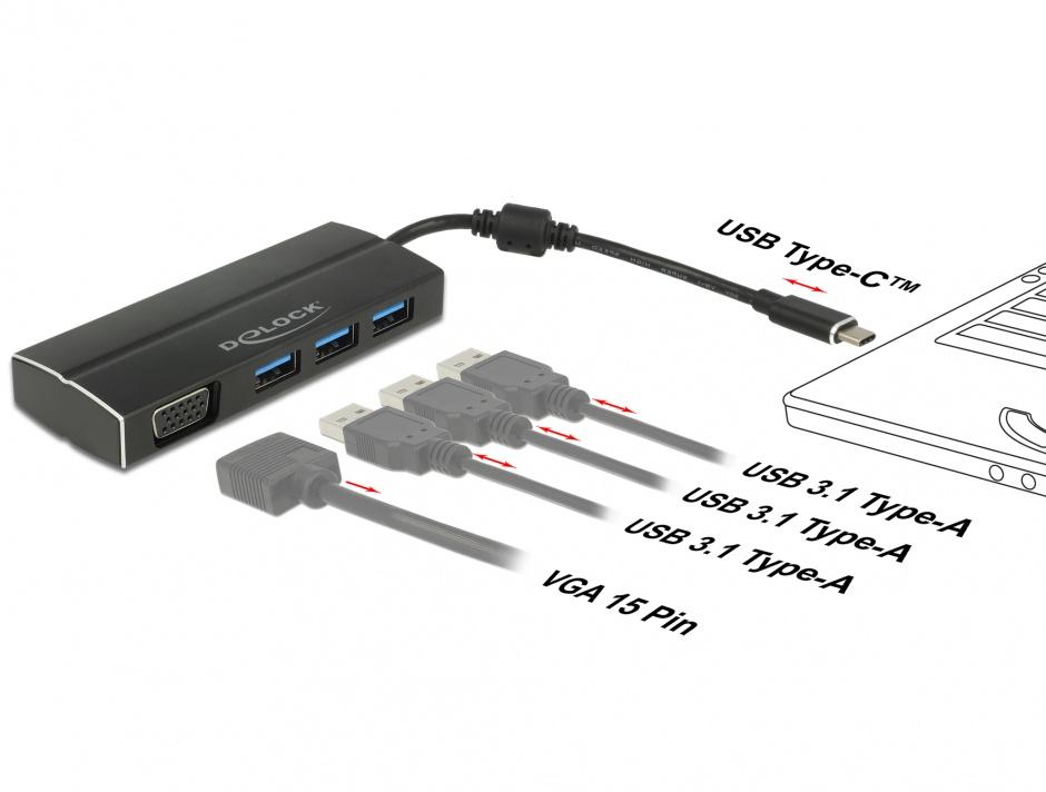 Imagine Adaptor USB-C 3.1 la VGA (DP Alt Mode) + 3 x USB-A, Delock 63932