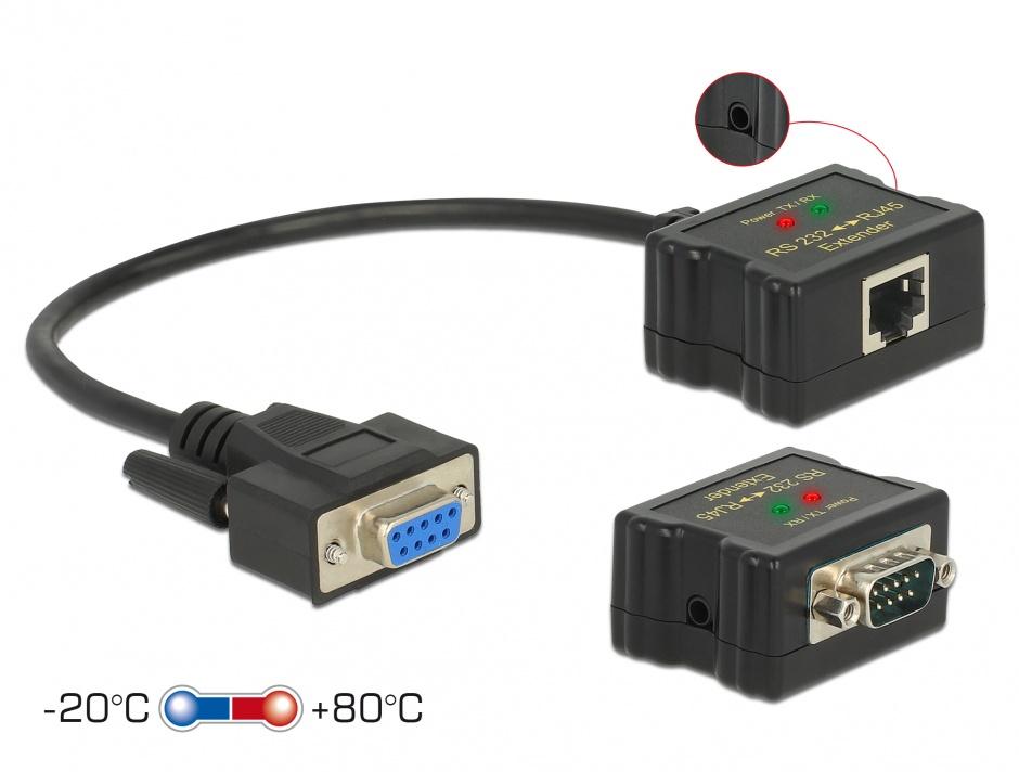 Imagine Extender RS-232 DB9 1200m prin cablu RJ45 cu protectie EDS, Delock 63934