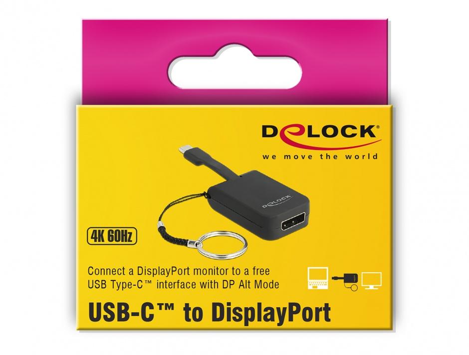 Imagine Adaptor USB-C la DisplayPort (DP Alt Mode) 4K 60Hz pentru breloc, Delock 63940