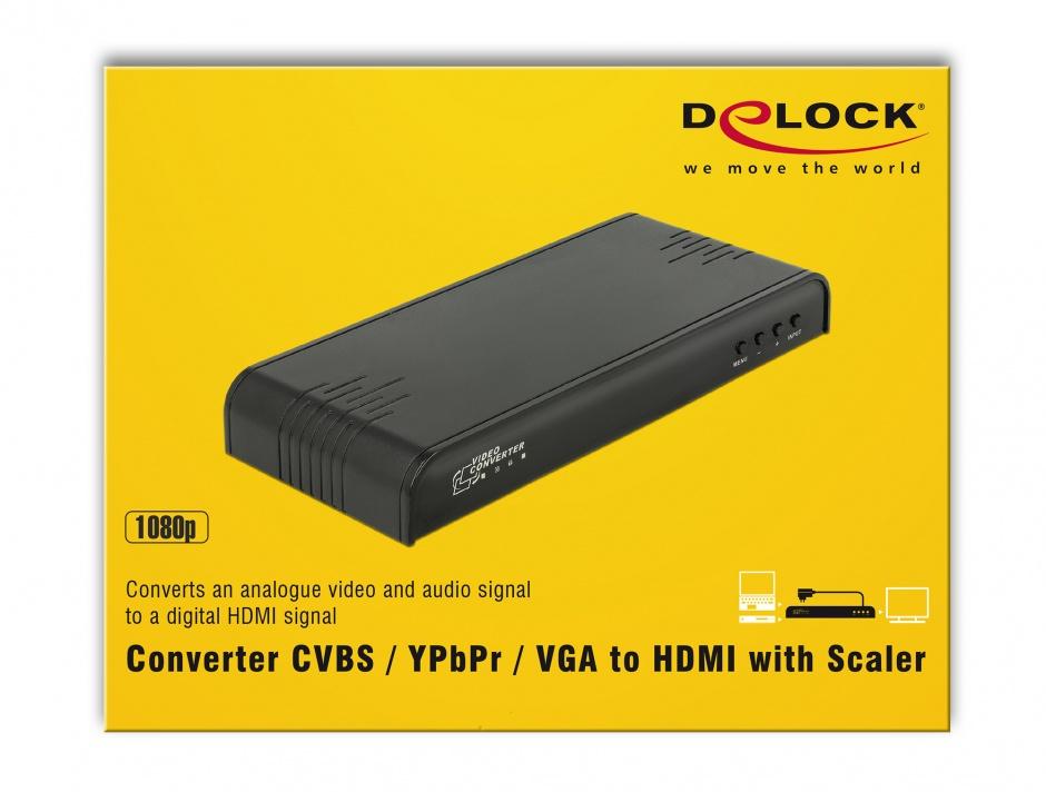 Imagine Convertor CVBS / YPbPr / VGA la HDMI cu Scalare, Delock 63963
