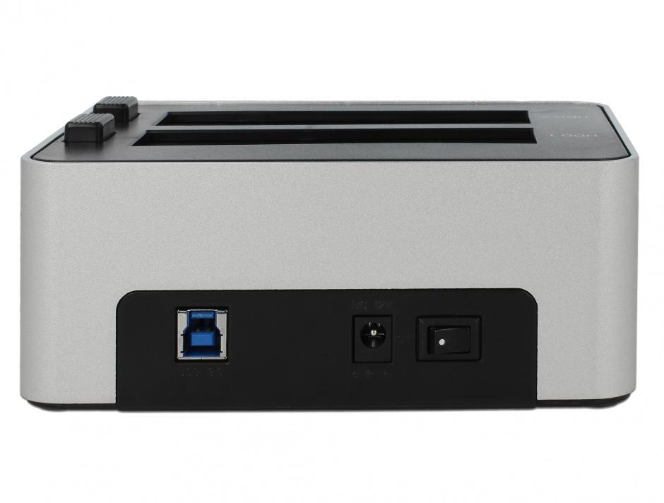 Imagine Dual Docking Station 2 x SATA HDD / SSD la USB 3.0 functie de Clona carcasa metalica, Delock 63991