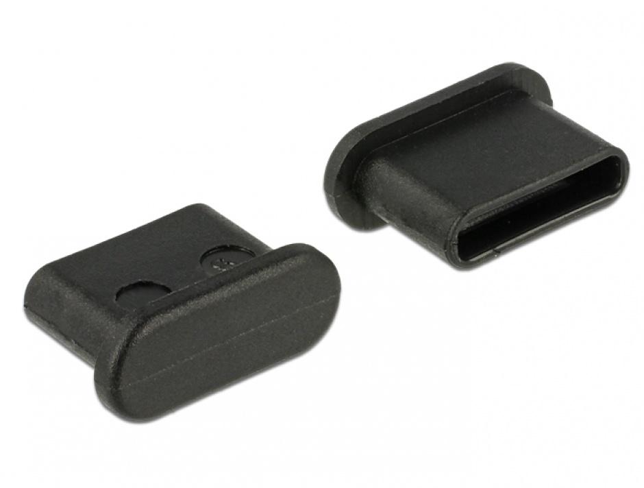 Imagine Protectie impotriva prafului pentru conector USB-C mama Negru set 10 buc, Delock 64014