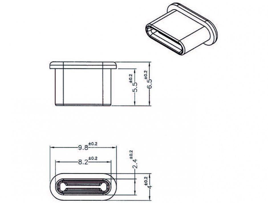 Imagine Protectie impotriva prafului pentru conector USB-C Negru set 10 buc, Delock 64014
