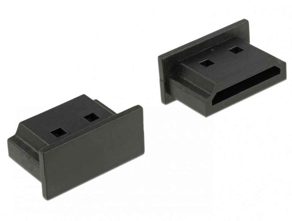 Imagine Protectie impotriva prafului pentru conector HDMI-A mama Negru set 10 buc, Delock 64030