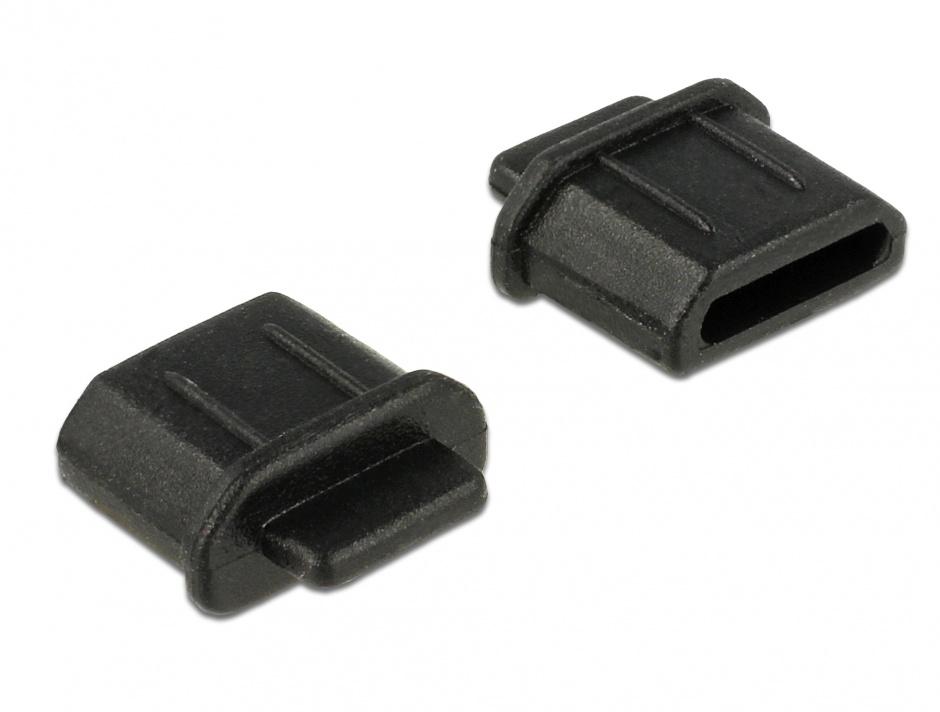 Imagine Protectie impotriva prafului pentru conector micro HDMI-D mama Negru set 10 buc, Delock 64031