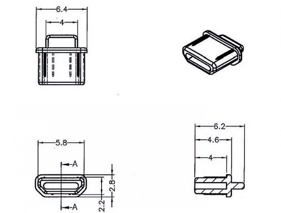 Imagine Protectie impotriva prafului pentru conector micro HDMI-D Negru set 10 buc, Delock 64031