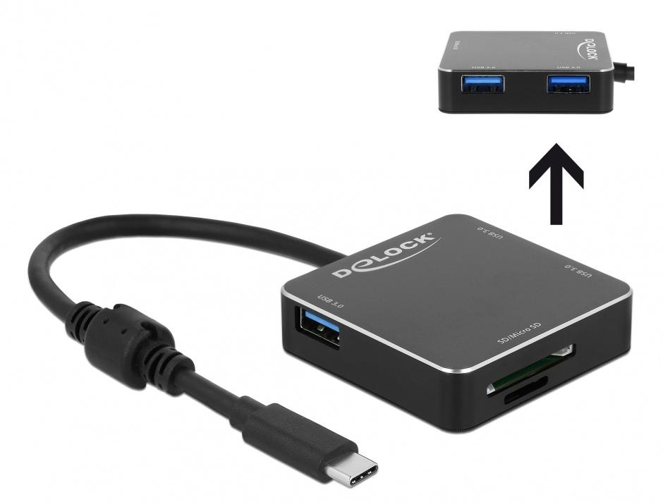 Imagine HUB USB 3.1-C la 3 x USB-A + slot SD + slot micro SD Negru, Delock 64042