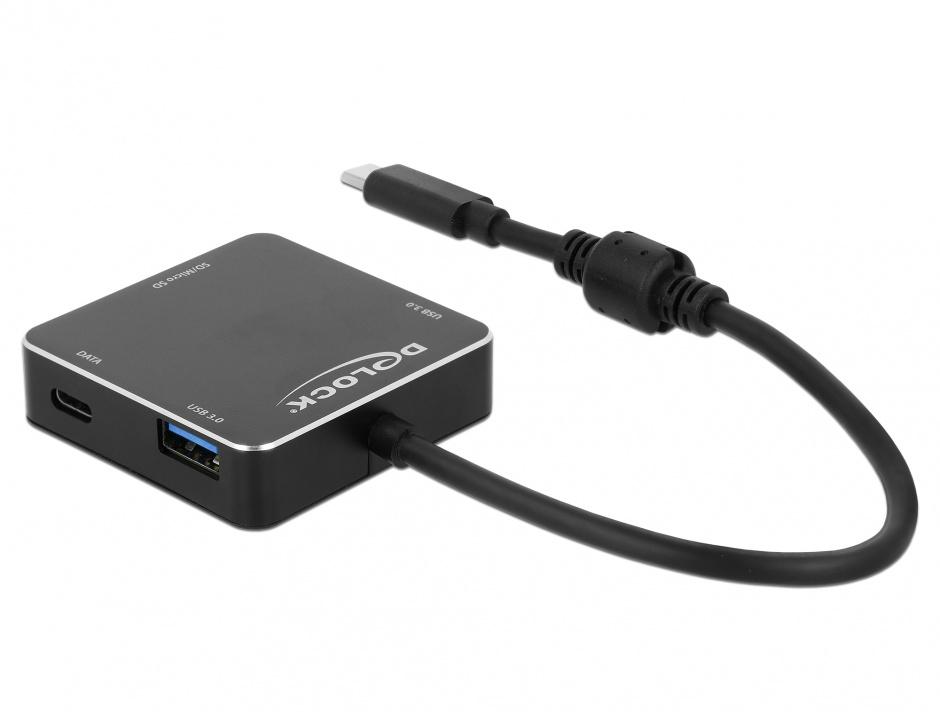 Imagine HUB USB-C 3.1 cu 2 x USB-A + 1 x USB-C + slot SD + slot micro SD Negru, Delock 64045