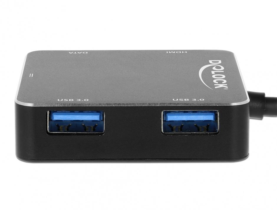 Imagine Adaptor USB-C 3.1 la 1 x HDMI-A + 2 x USB 3.0-A + 1 x USB-C + PD (Power Delivery) Negru, Delock 6406