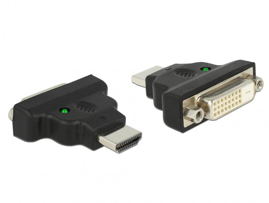 Imagine Adaptor HDMI la DVI-D Dual Link 24+1pini T-M cu LED, Delock 65020