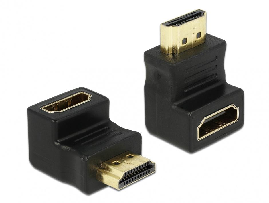 Imagine Adaptor HDMI T-M unghi 90 grade jos, Delock 65071