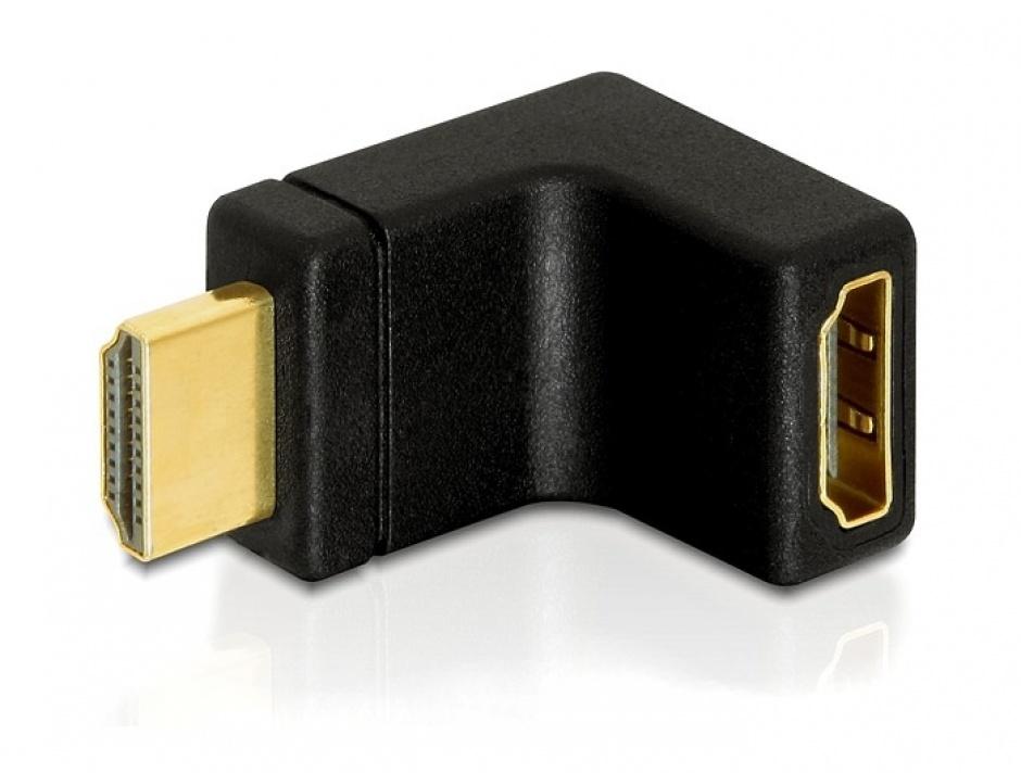 Imagine Adaptor HDMI T - M unghi 90 grade in sus, Delock 65072