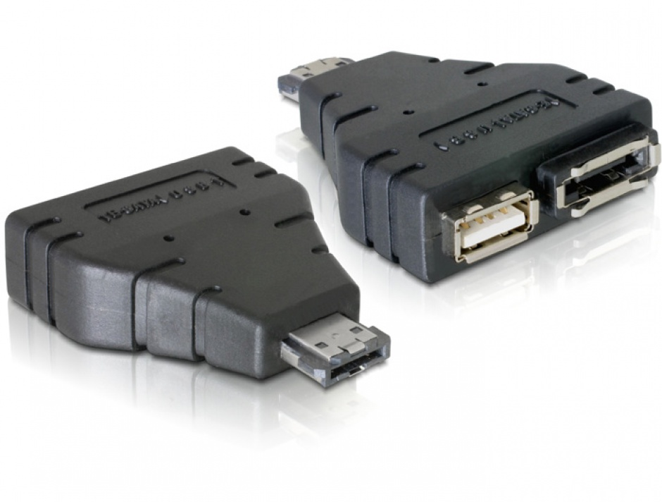 Imagine Adaptor Power Over eSATA la 1x eSATA si 1x USB, Delock 65119