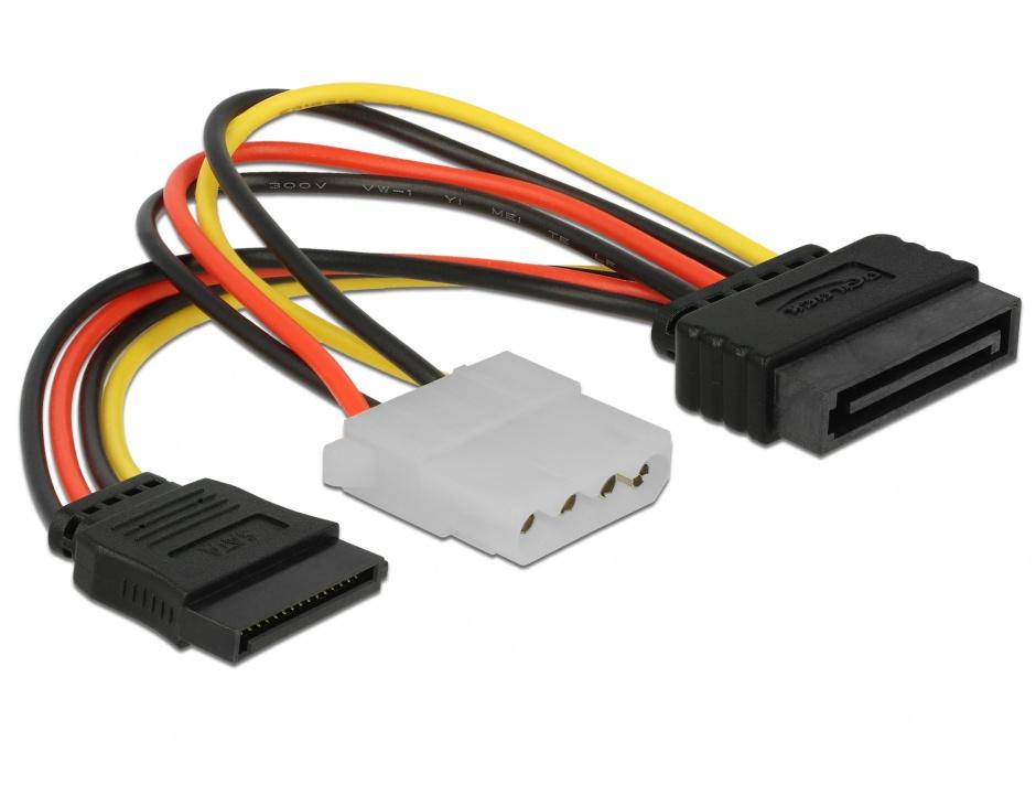 Imagine Cablu alimentare SATA la SATA + Molex T-M, Delock 65235