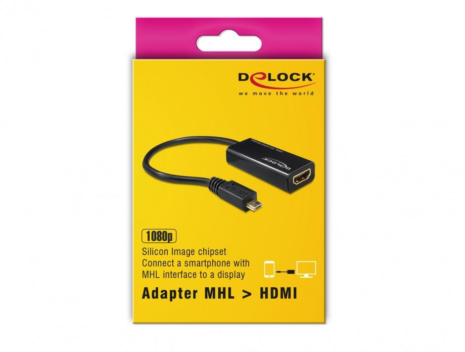 Imagine Adaptor MHL la HDMI + USB micro-B 5 pini (Samsung S2), Delock 65314