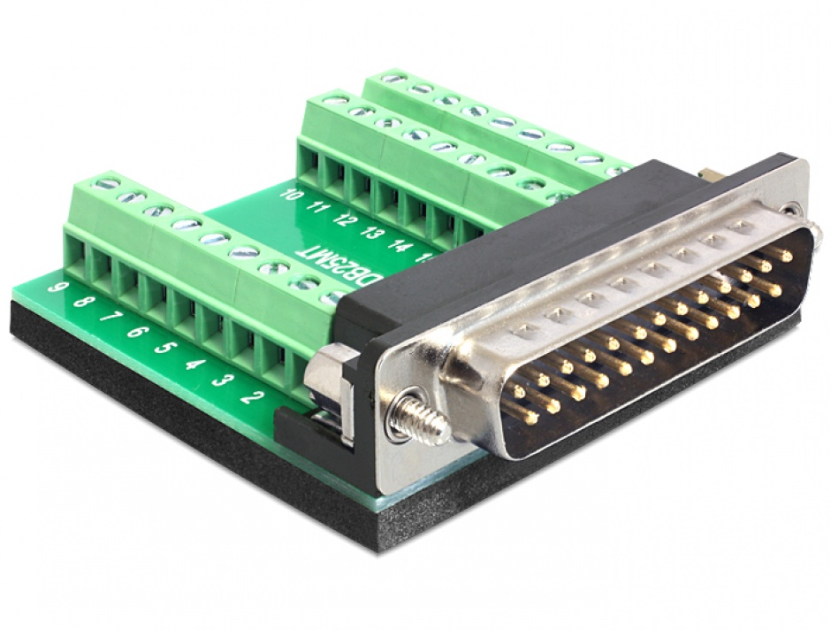 Imagine Adaptor D-Sub 25 pini T la bloc terminal 27 pini, Delock 65318