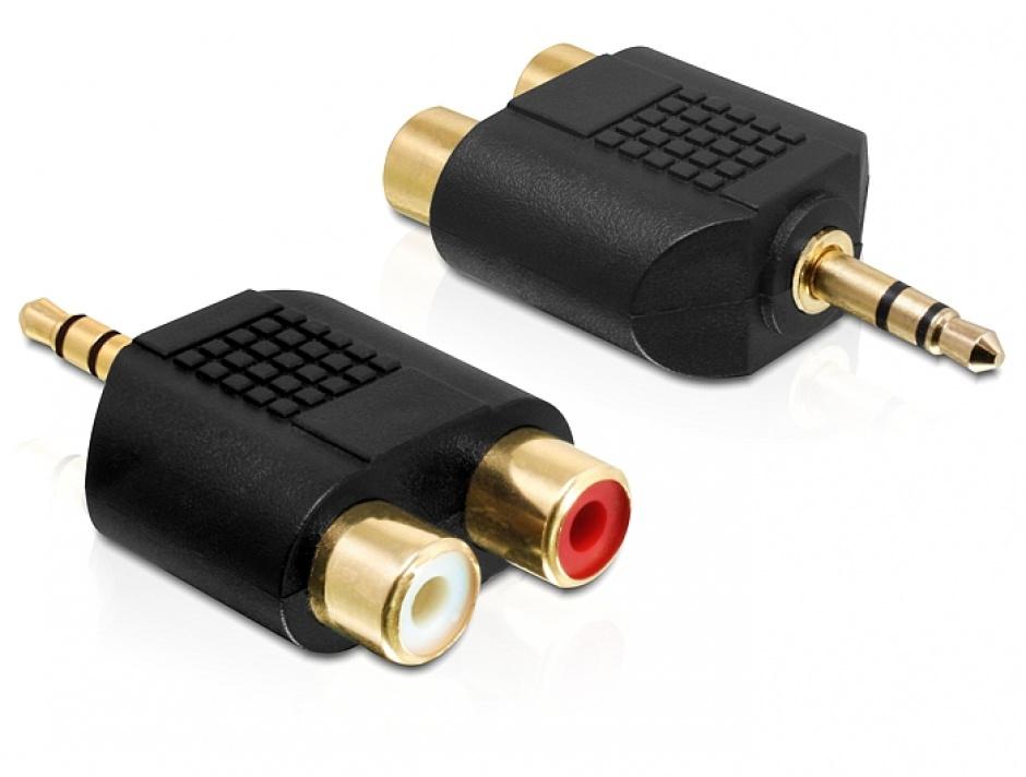 Imagine Adaptor audio Stereo jack 3.5 mm 3 pini T la 2 x RCA M, Delock 65365