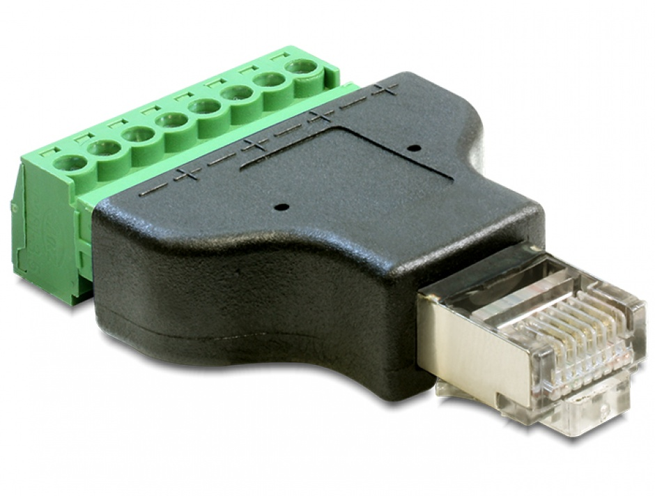 Imagine Adaptor RJ45 T la bloc terminal 8 pini, Delock 65389