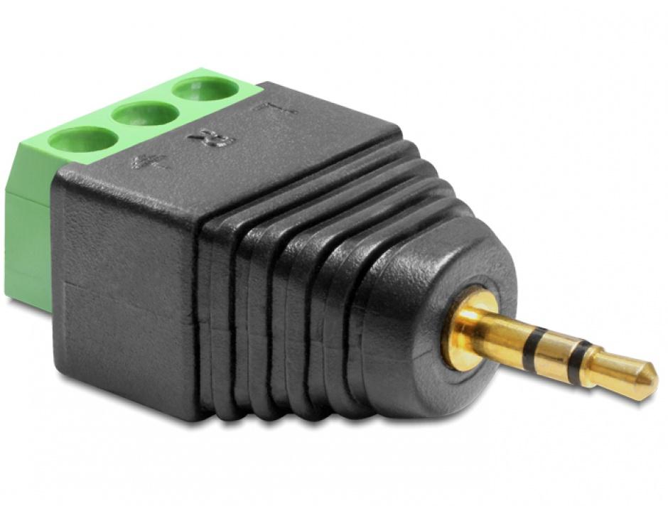 Imagine Adaptor jack Stereo Tata 2.5 mm la Bloc Terminal 3 pini, Delock 65420